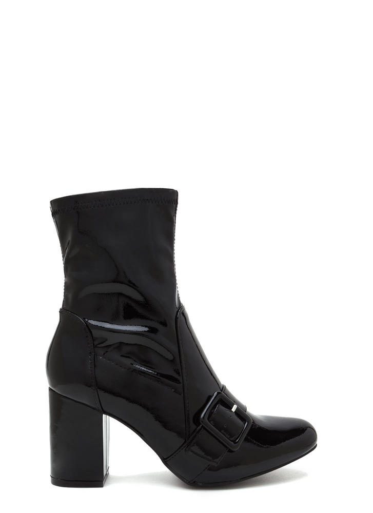 Buckle In Chunky Faux Patent Booties BLACK