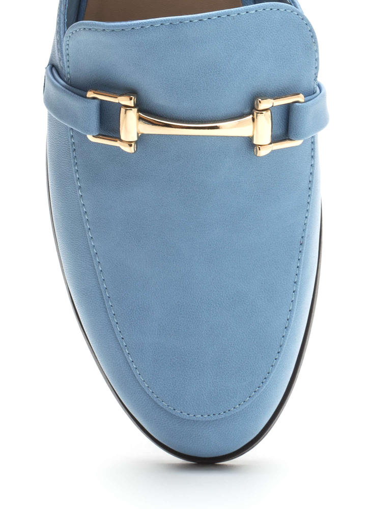 Equestrian Chic Faux Leather Mule Flats BLUE