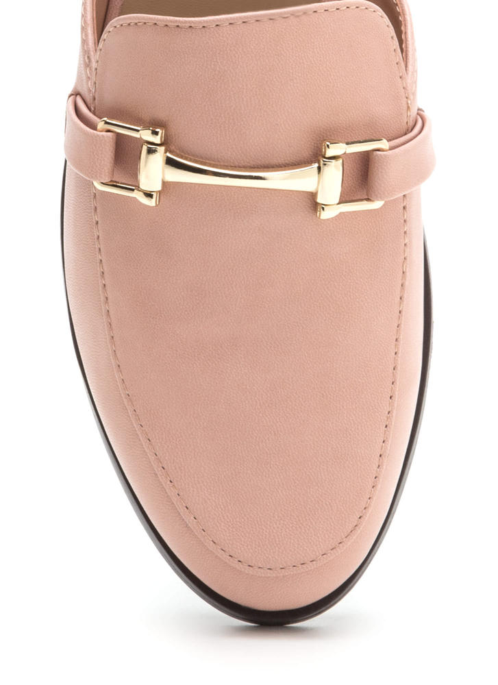 Equestrian Chic Faux Leather Mule Flats BLUSH