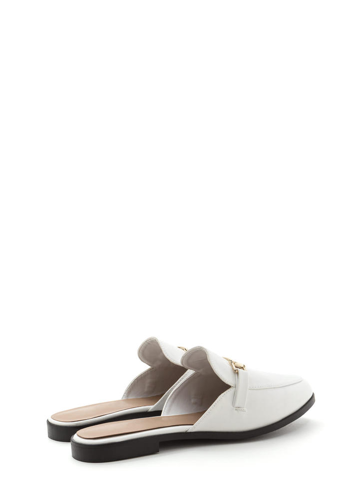 Equestrian Chic Faux Leather Mule Flats WHITE