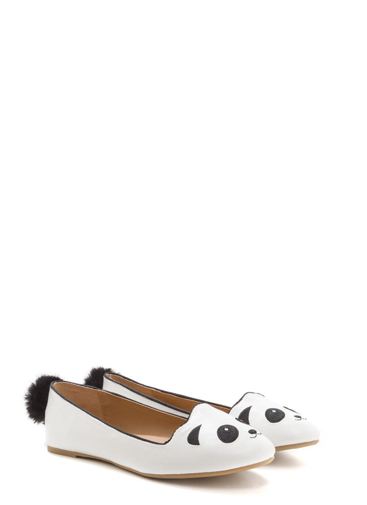 Panda Sighting Embroidered Pom-Pom Flats WHITE