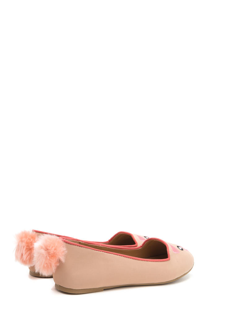 When Pigs Fly Embroidered Pom-Pom Flats ROSE