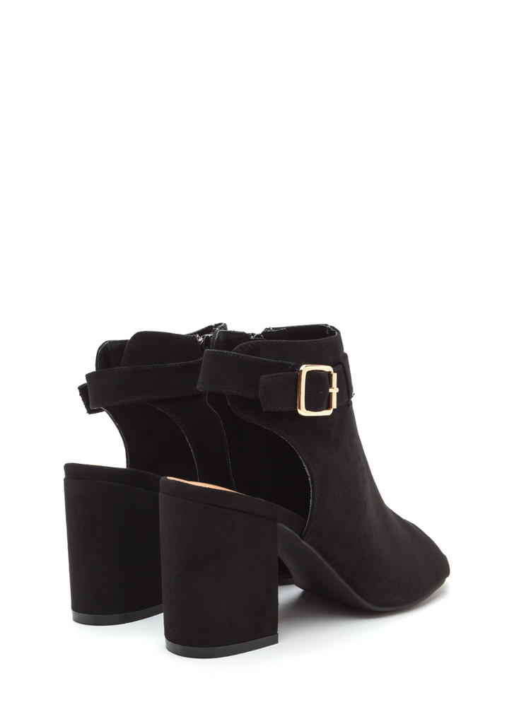 Daily Chic Chunky Cut-Out Booties BLACK