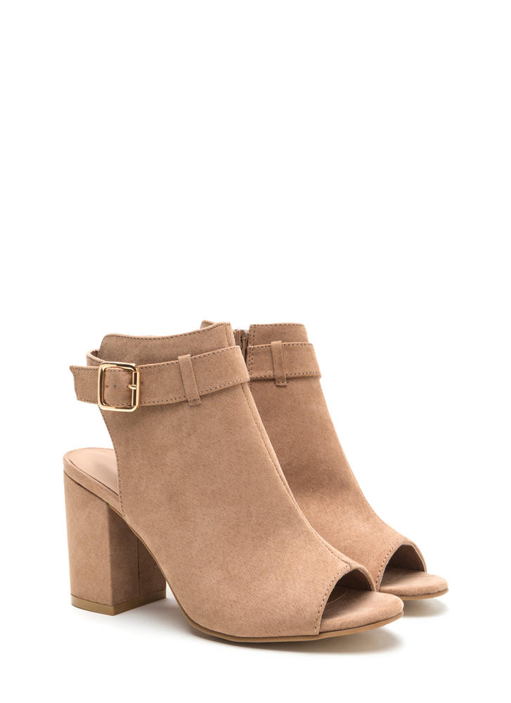 Daily Chic Chunky Cut-Out Booties CAMEL