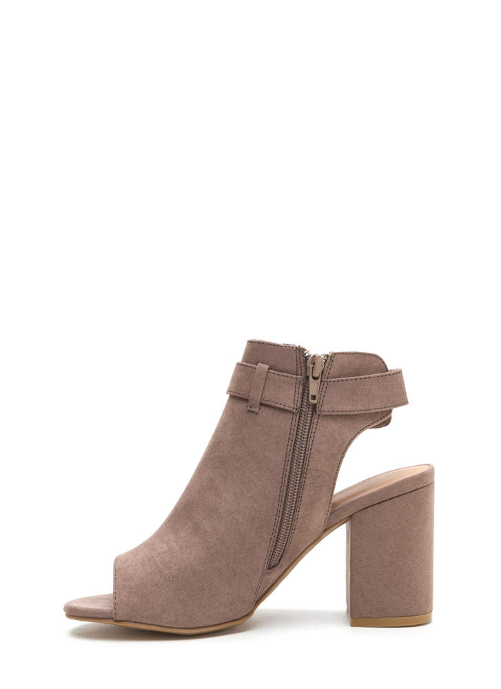 Daily Chic Chunky Cut-Out Booties LTTAUPE