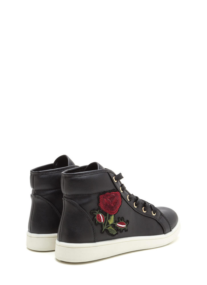 Rose Up Applique High-Top Sneakers BLACK