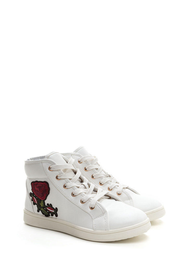 Rose Up Applique High-Top Sneakers WHITE