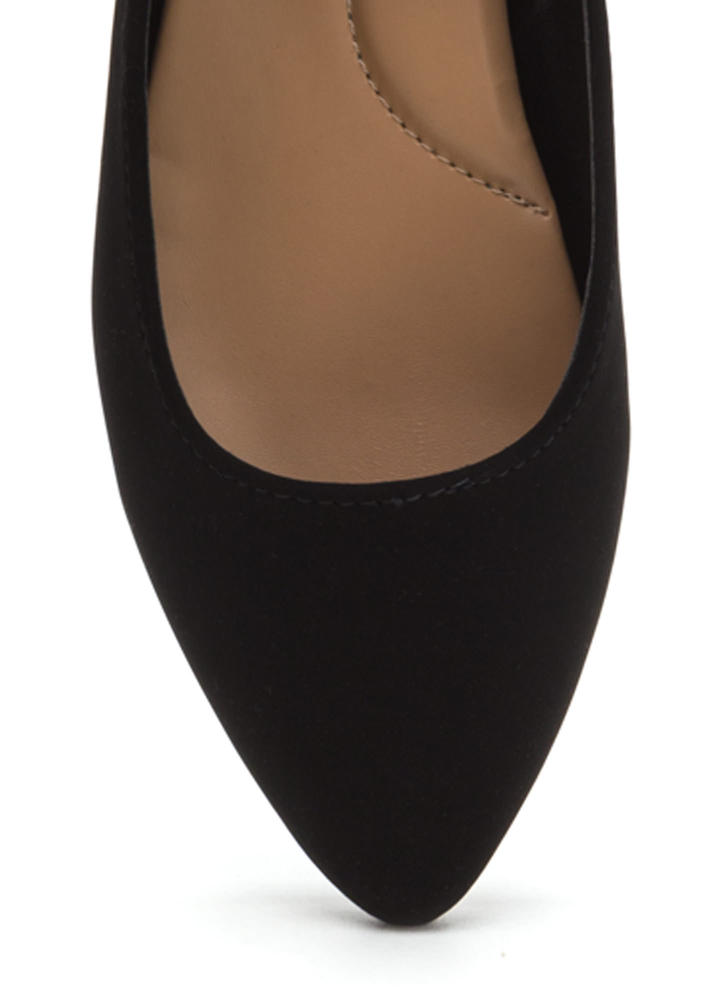 You Crossed Me Pointy Strappy Flats BLACK