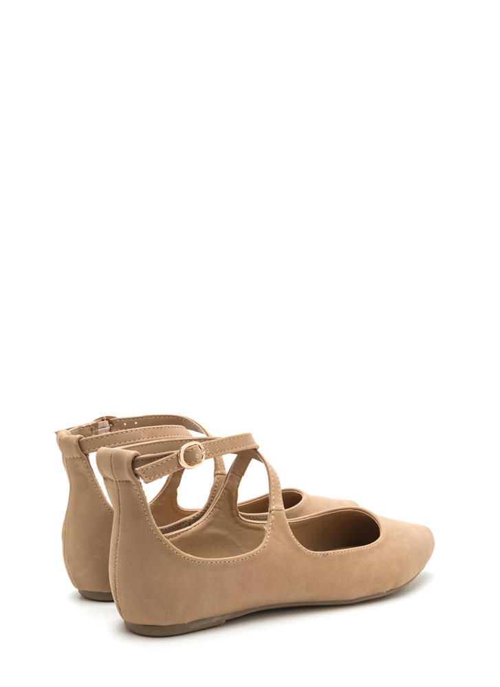 You Crossed Me Pointy Strappy Flats NATURAL