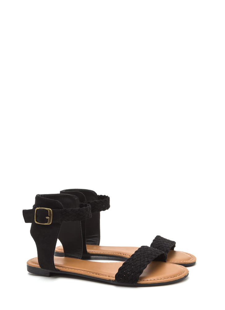 Be-weave Me Faux Suede Cut-Out Sandals BLACK