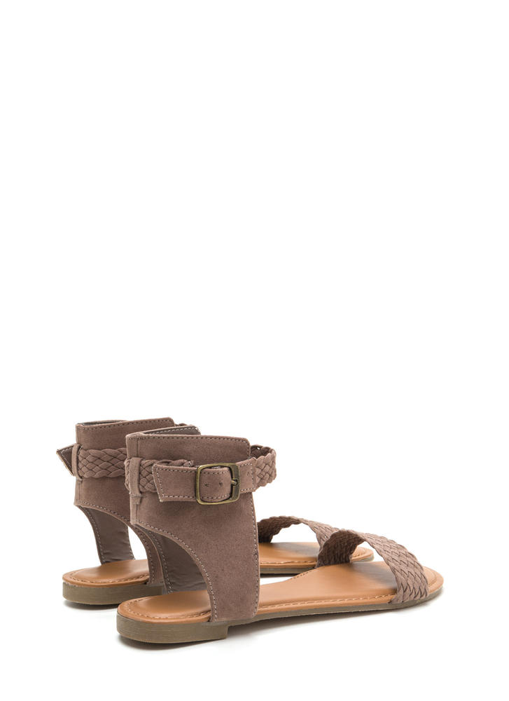 Be-weave Me Faux Suede Cut-Out Sandals LTTAUPE