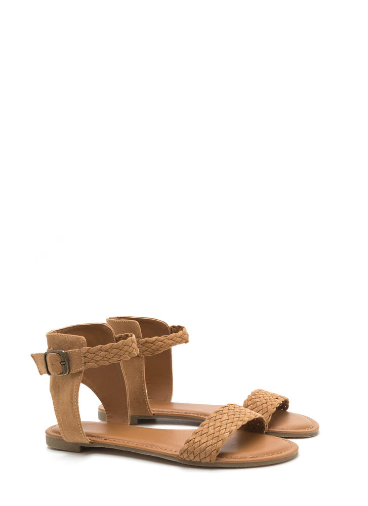 Be-weave Me Faux Suede Cut-Out Sandals TAN