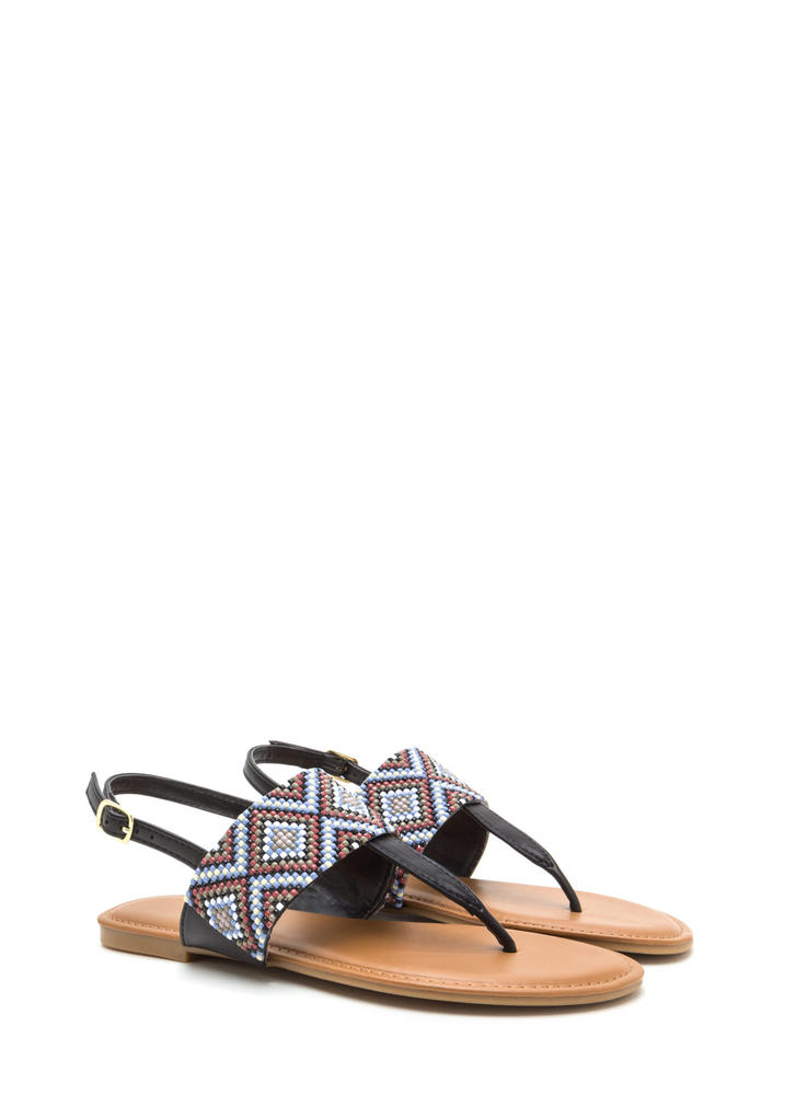 Diamond In The Rough T-Strap Sandals BLACK