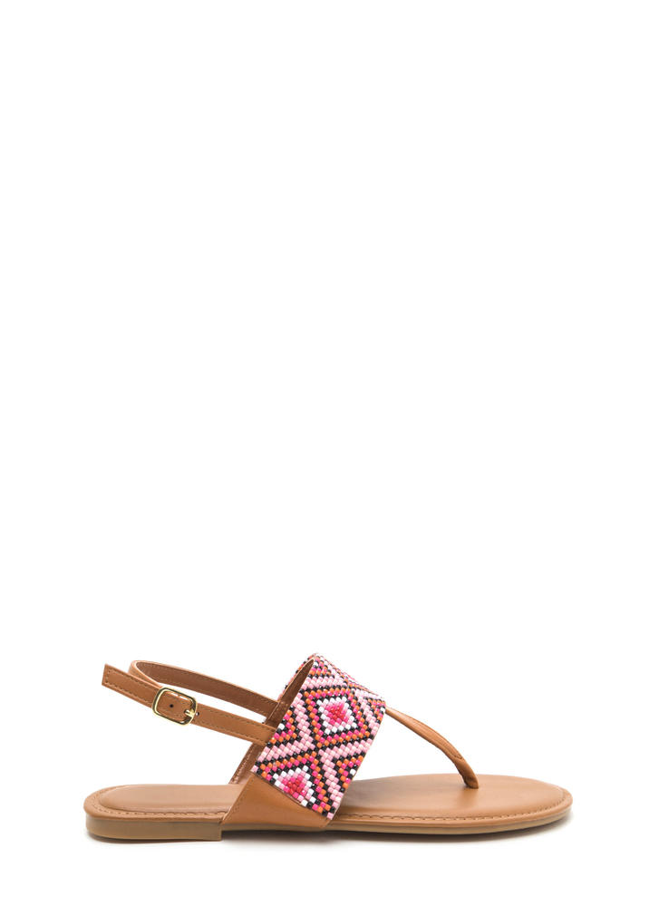 Diamond In The Rough T-Strap Sandals COGNAC