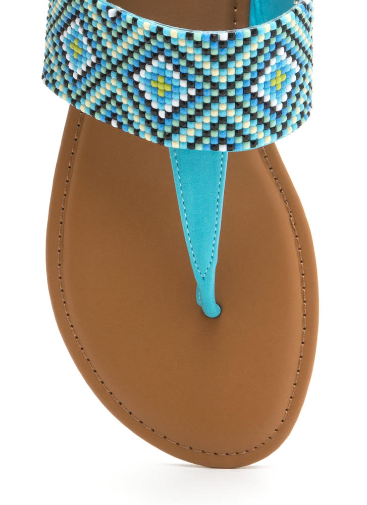 Diamond In The Rough T-Strap Sandals TURQUOISE