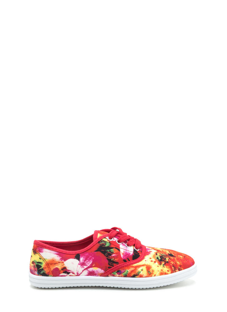 Flower Hour Floral Print Sneakers REDMULTI