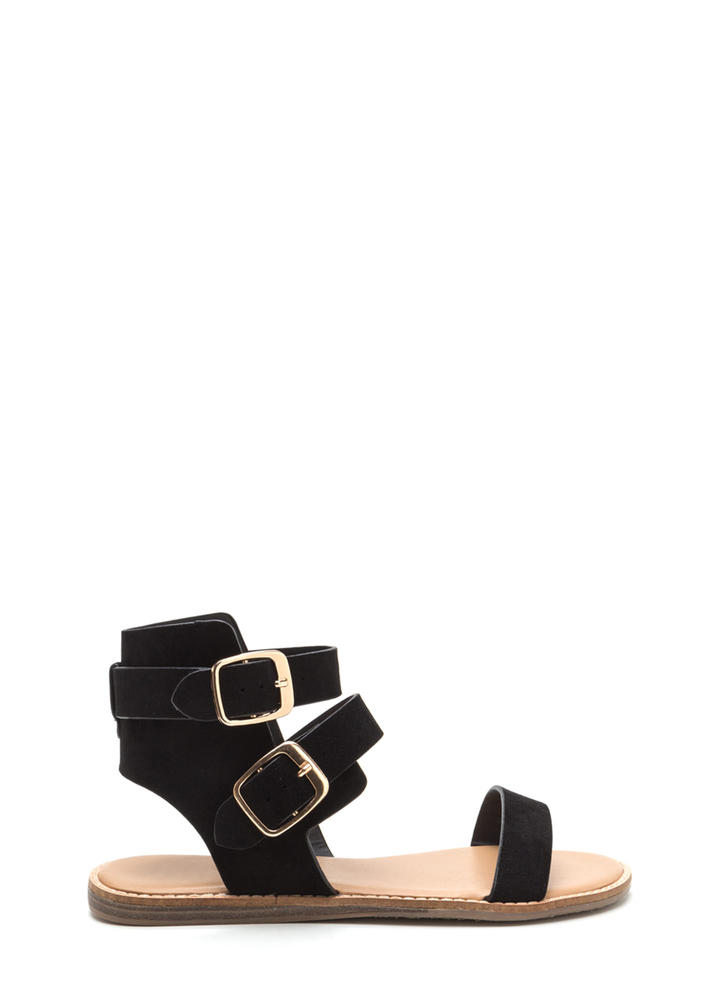Seeing Double Buckled Faux Suede Sandals BLACK