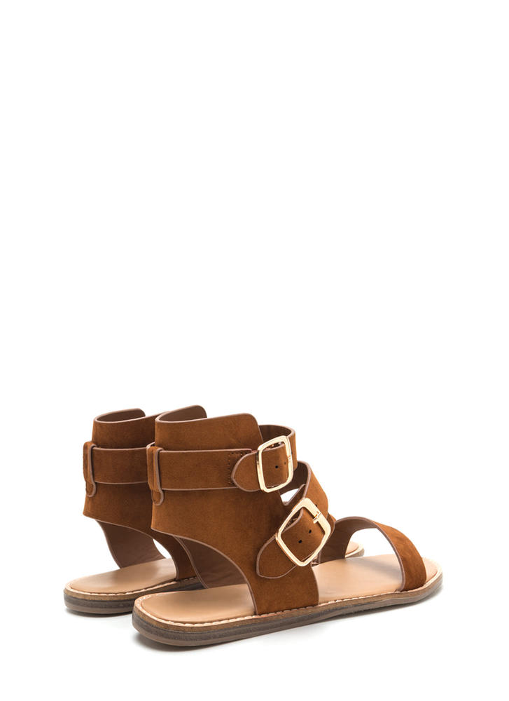 Seeing Double Buckled Faux Suede Sandals CHESTNUT