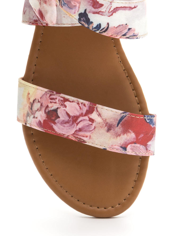 Bow My Painted Floral Strappy Sandals BLUSH