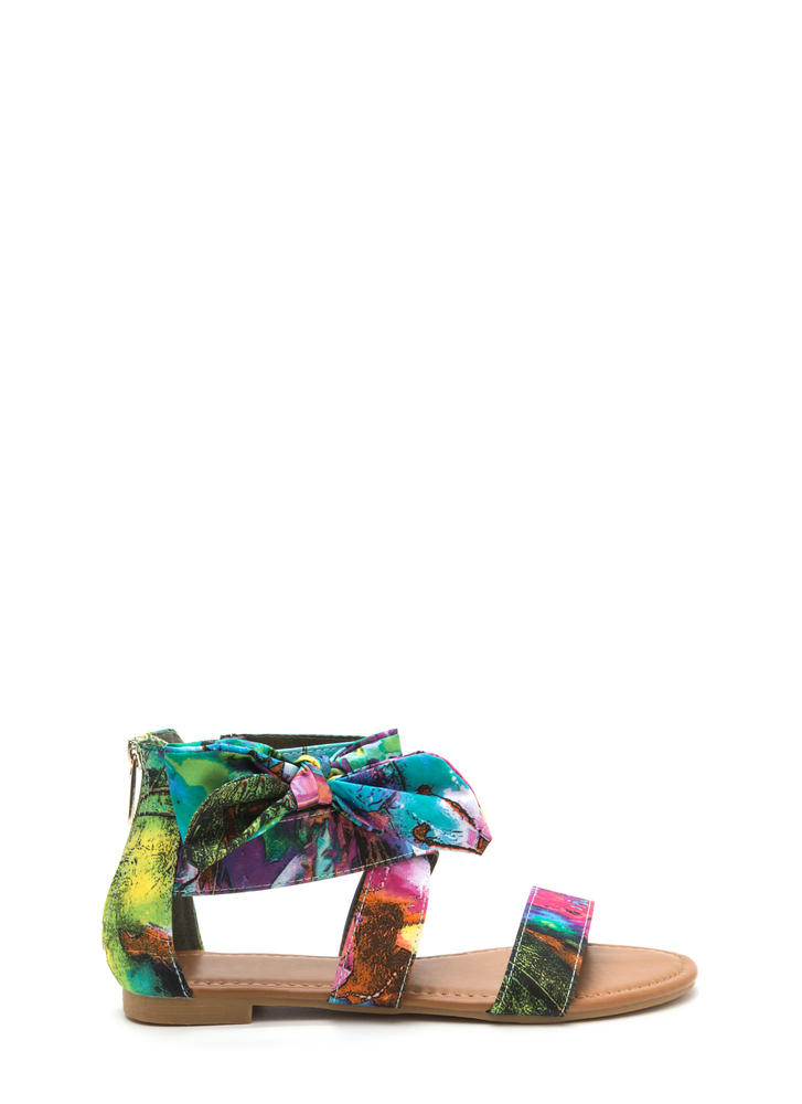 Bow My Painted Floral Strappy Sandals SEAFOAM