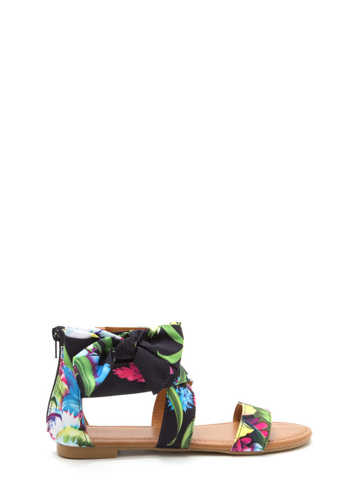 Bow My Tropical Floral Strappy Sandals BLACK