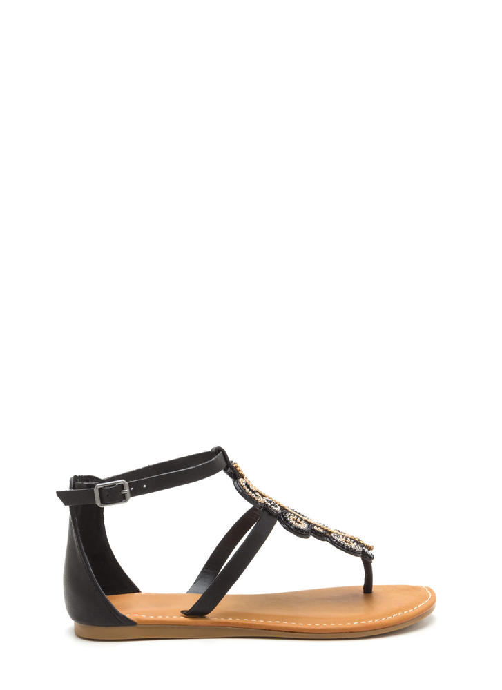 Ring True Beaded Faux Leather Sandals BLACK