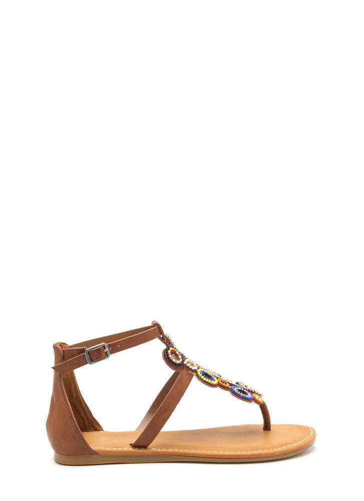 Ring True Beaded Faux Leather Sandals TAN