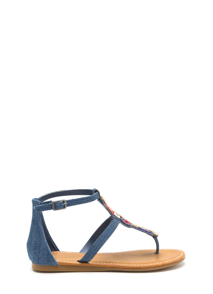 Ring True Beaded Denim Sandals