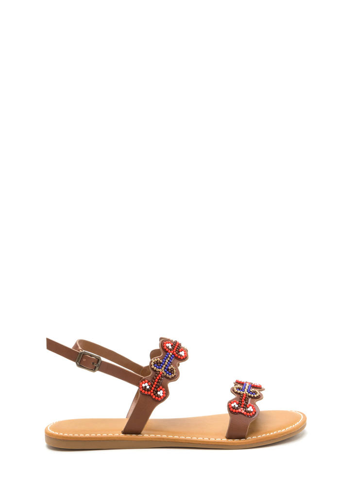 Bead Up Wavy 'N Strappy Boho Sandals TAN