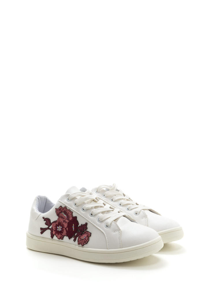 Petal Pusher Embroidered Sneakers WHITE