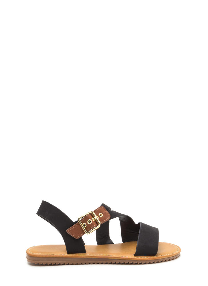 Warrior Style Faux Leather Sandals BLACK