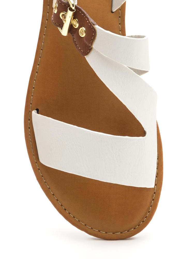 Warrior Style Faux Leather Sandals WHITE