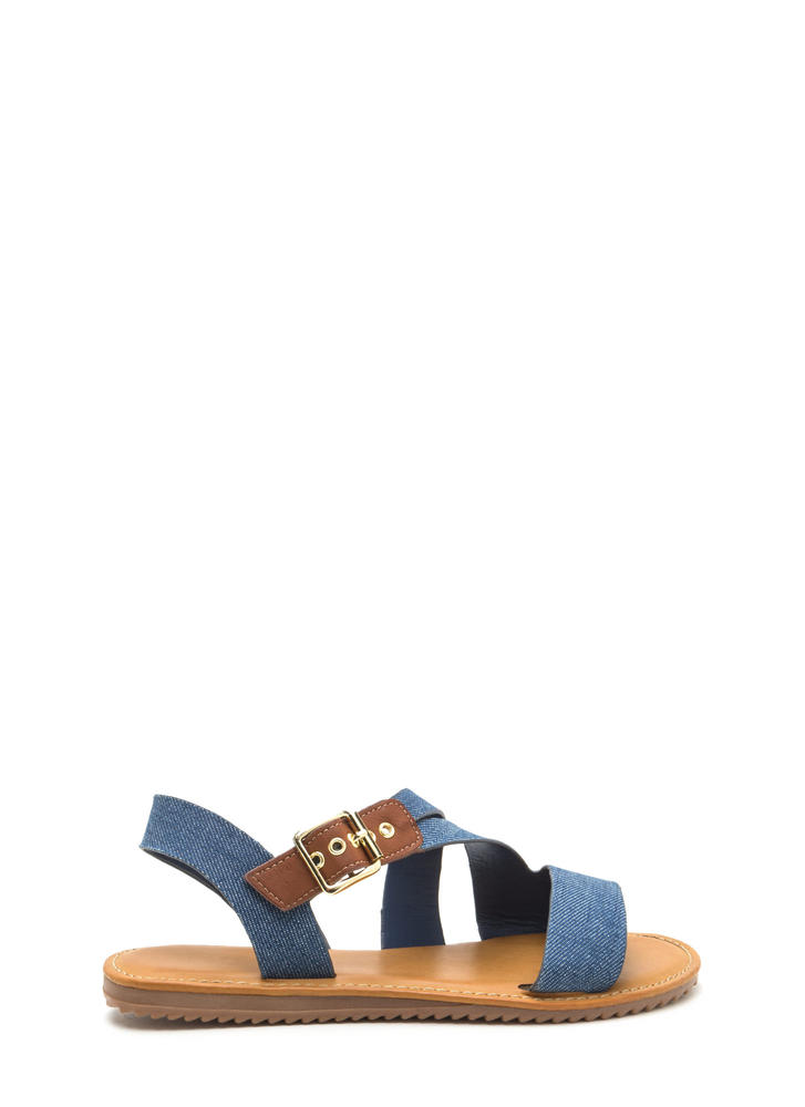 Warrior Style Strappy Denim Sandals BLUE