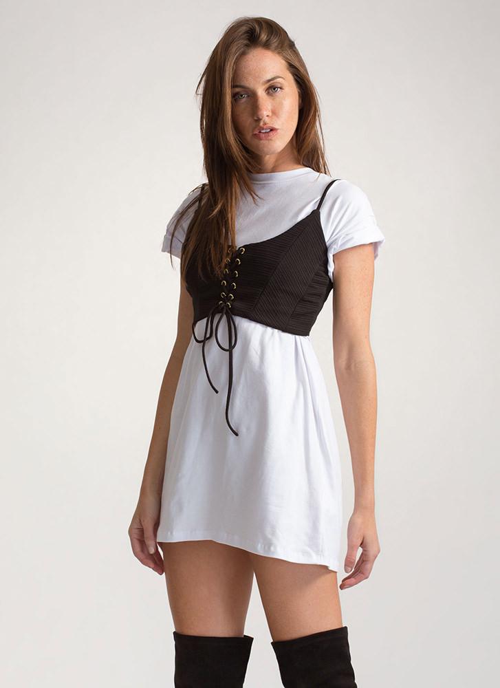 Try And Tie Again Lace-Up Crop Top BLACK