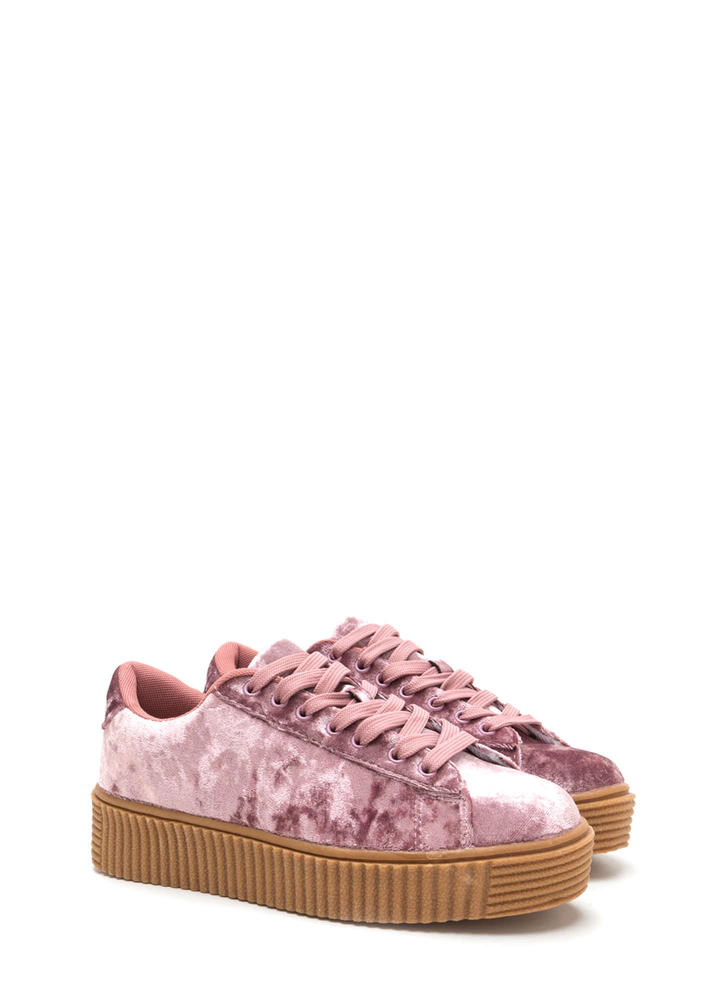 Crushing This Velvet Creeper Sneakers PINK
