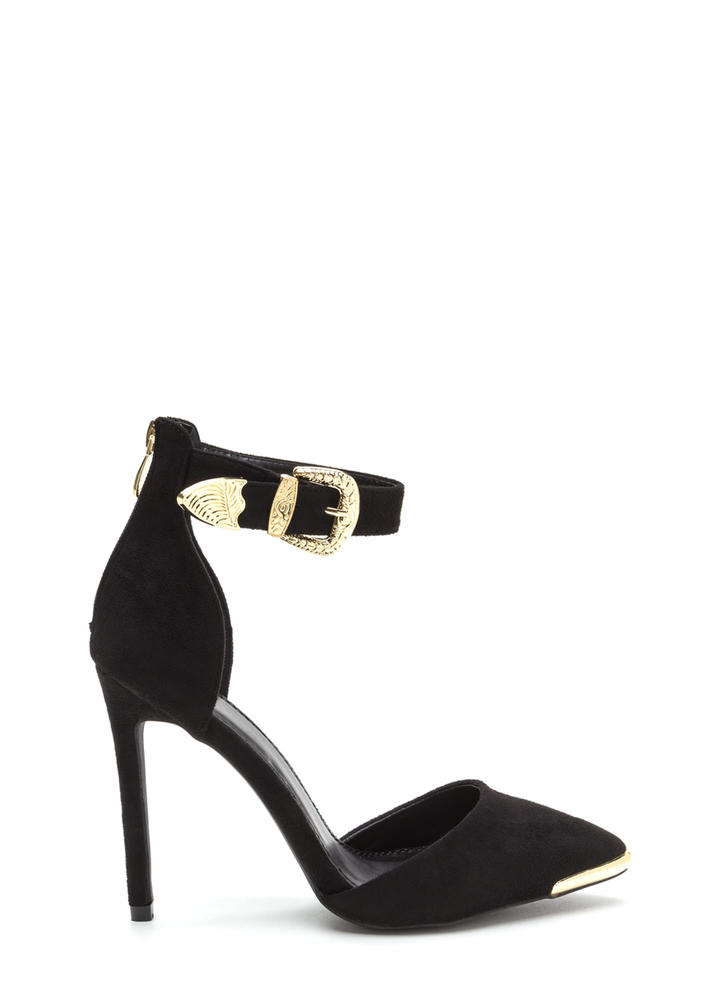 Belt It Out Pointy Metallic Accent Heels BLACK