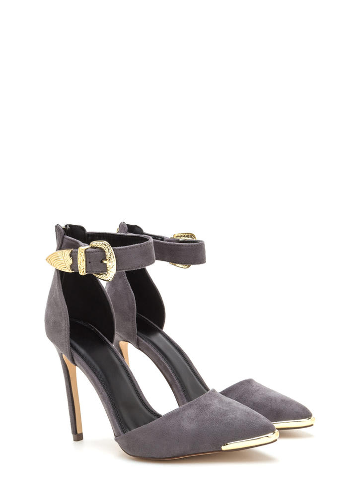 Belt It Out Pointy Metallic Accent Heels GREY