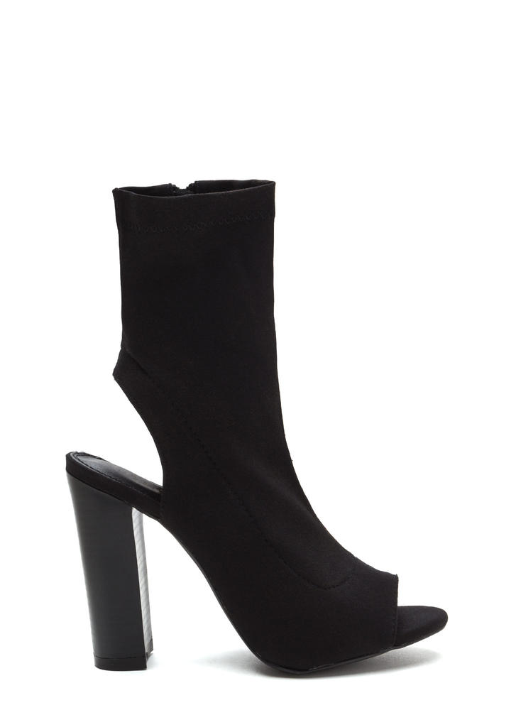 Slayer Chunky Cut-Out Peep-Toe Booties BLACK