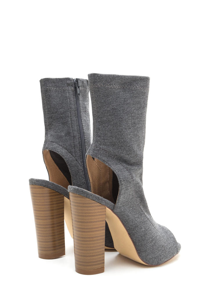 Slayer Chunky Cut-Out Peep-Toe Booties GREY