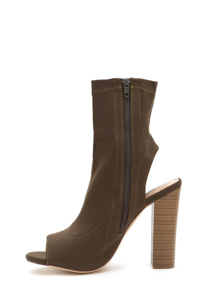 Slayer Chunky Cut-Out Peep-Toe Booties OLIVE