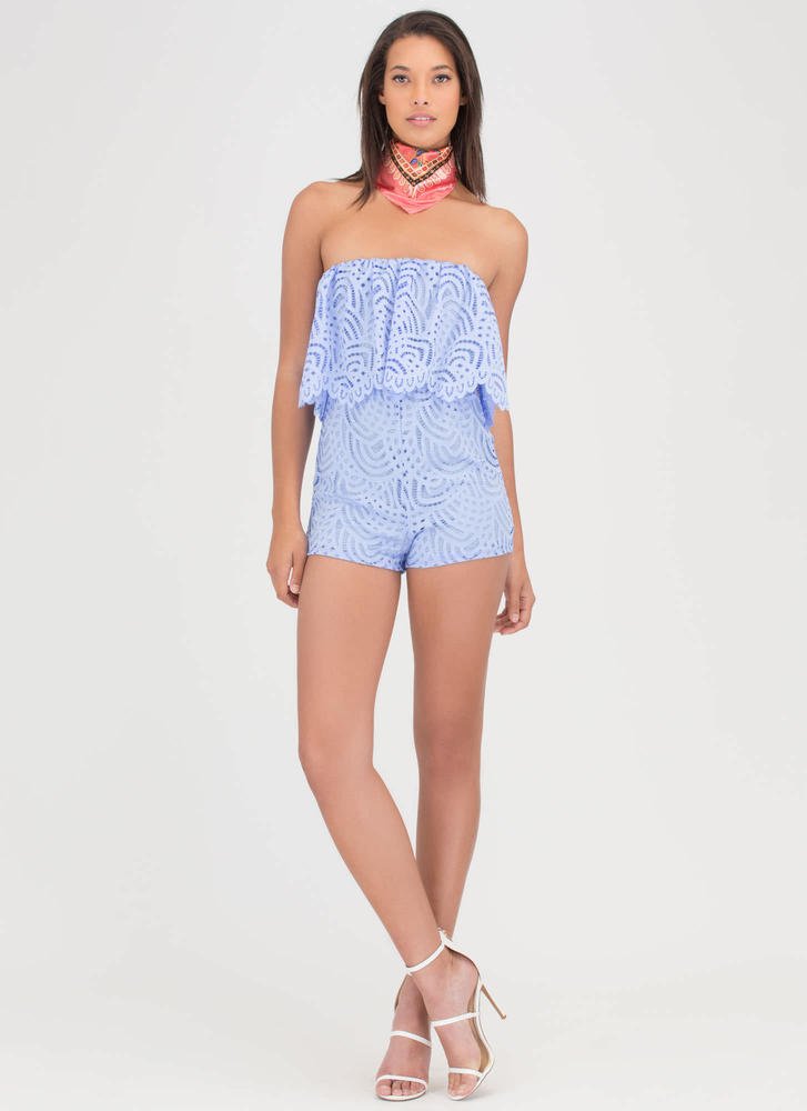 All Eyelets On You Lacy Tube Romper BLUE