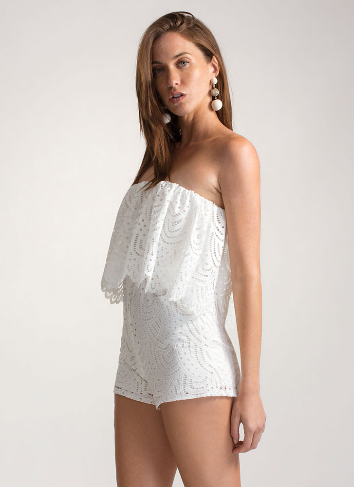 All Eyelets On You Lacy Tube Romper WHITE