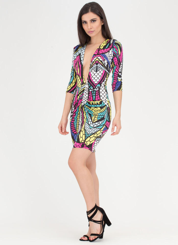 Jewel Tone Plunging Ruched Print Dress MULTI