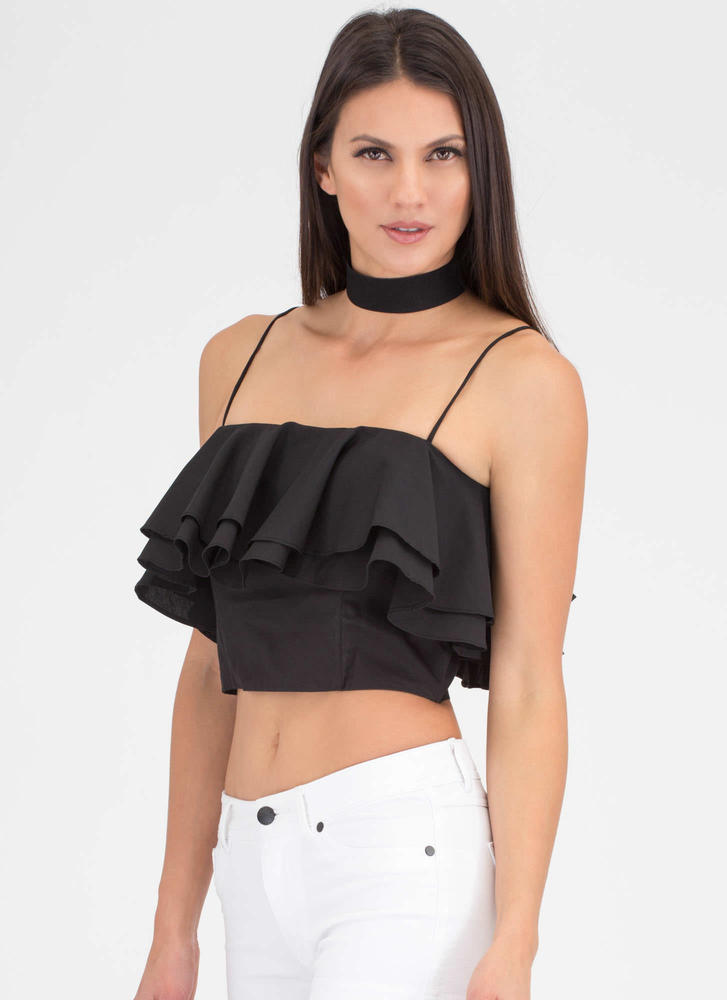 Double The Ruffles Flared Crop Top BLACK