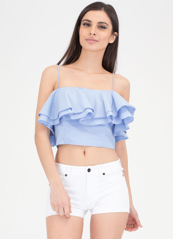 Double The Ruffles Flared Crop Top