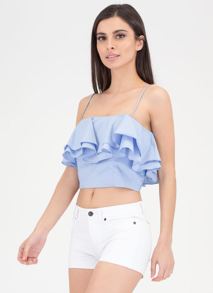 Double The Ruffles Flared Crop Top BLUE