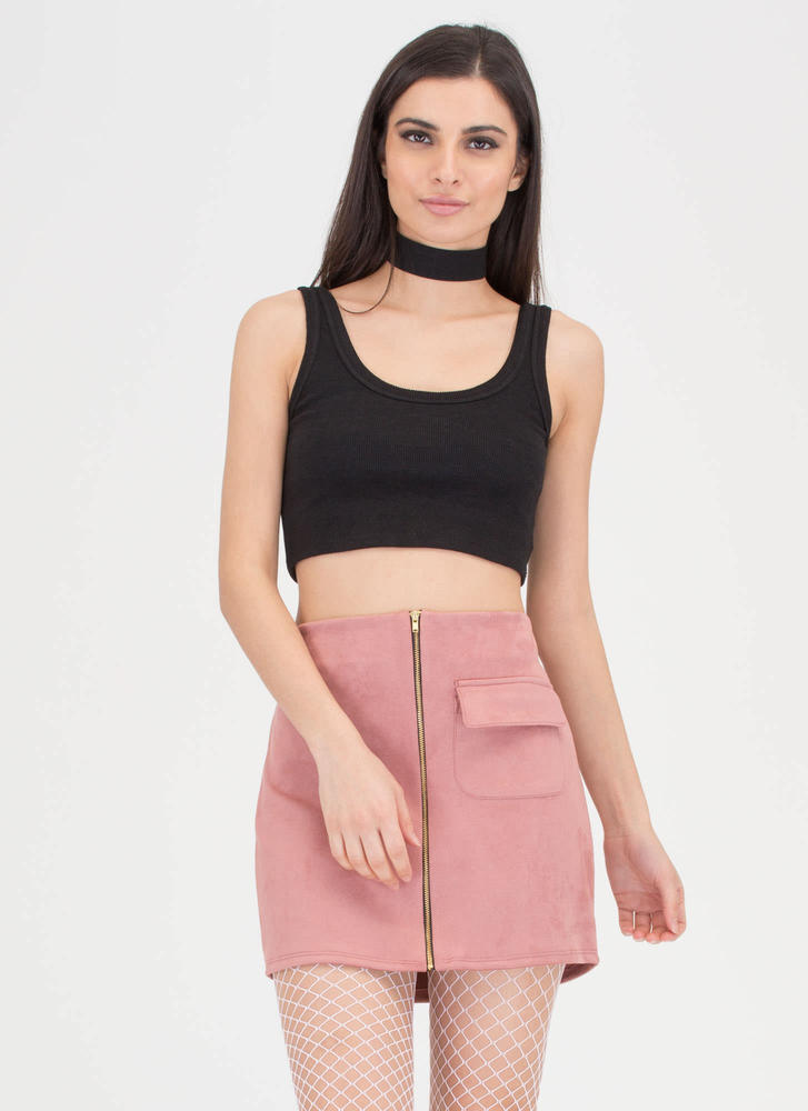 One And One Zippered Faux Suede Skirt