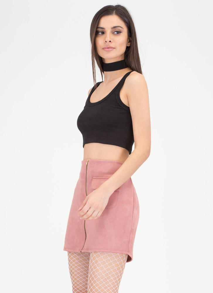 One And One Zippered Faux Suede Skirt MAUVE