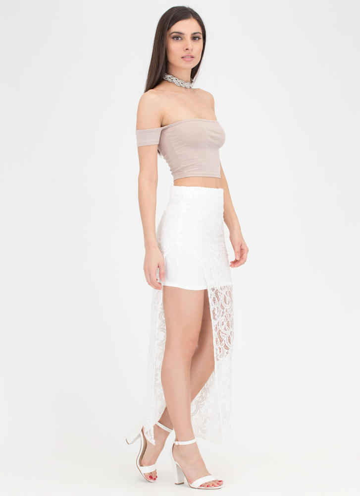 pretty in paisley high low lace skirt white gojane