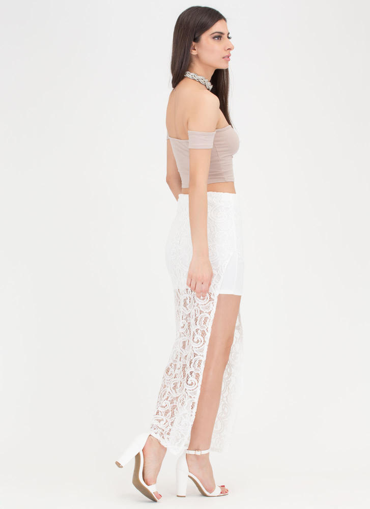 Pretty In Paisley High-Low Lace Skirt WHITE